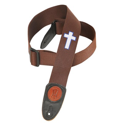 Guitar Strap with Cross, Brown  -