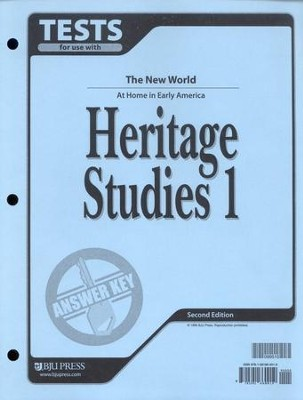 BJU Heritage Studies Grade 1, Tests Answer Key    -