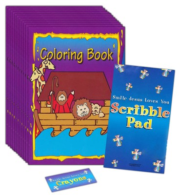 Coloring Book, Notepad and Crayon Set, Pack of 12   -