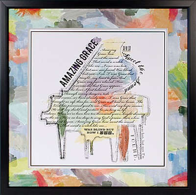 Amazing Grace, How Sweet the Sound, Piano, Framed Print  -