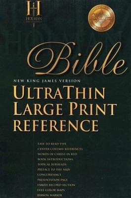 NKJV Ultra Thin Large Print Reference Bible, Genuine leather, Burgundy  -