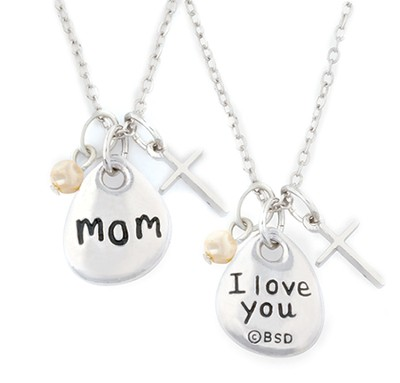 Mom Necklace, with Cross  -