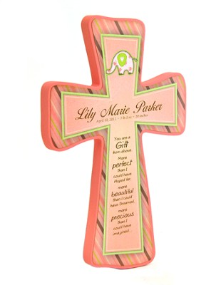 Personalized, Baby Girl Cross With Elephant, Small Pink  -