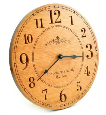 Personalized, Wooden Wall Clock, With Large Numbers, With Cross  -