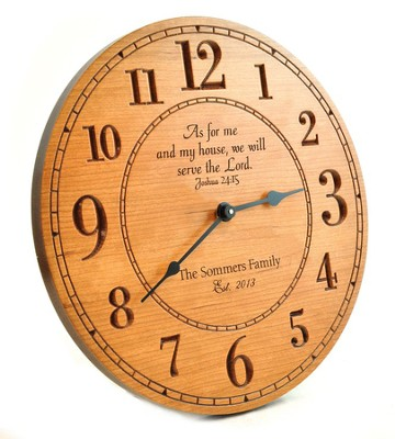 Personalized, Wooden Wall Clock, With Large Numbers, As For Me And My House  -