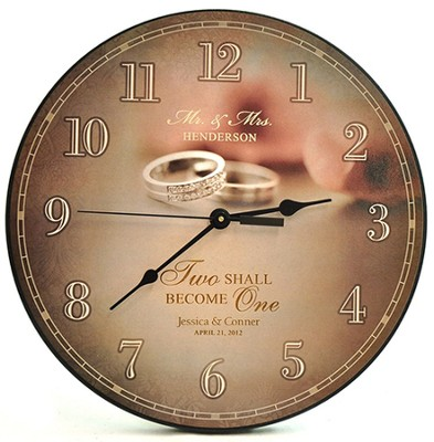 Personalized, Wall Clock, Two Shall Become One   -