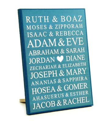 Personalized, Lithograph Plaque, Small, Bible Names,   Blue  -