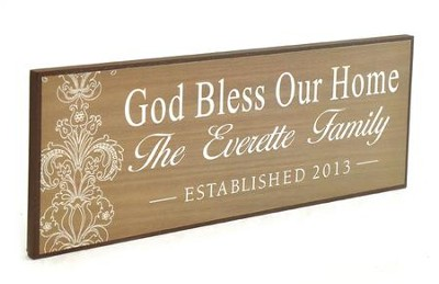 Personalized, Lithograph Plaque, God Bless Our Home Long, Brown  -