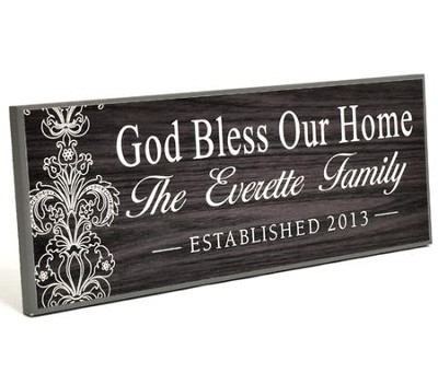 Personalized, Lithograph Plaque, God Bless Our Home Long, BLack  -