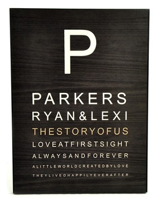 Personalized, Eye Chart Plaque, Large    -