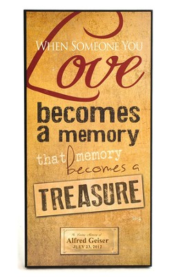Personalized, Treasured Memories Plaque, Large   -