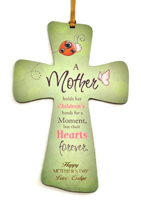 Personalized, Mini Cross with Ladybug, A Mother Holds Her Children's Hand, Green  -