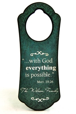 Personalized, Door Hanger, With God Everything is  Possible, Teal  -
