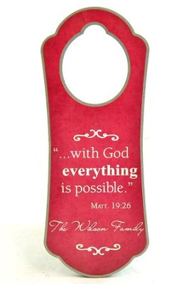Personalized, Door Hanger, with God Everything is  Possible, Pink  -