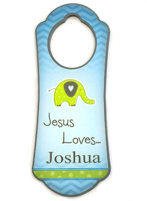 Personalized, Door Hanger with Elephant, Jesus Loves Me Blue  -