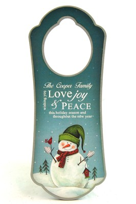 Personalized, Door Hanger, With Snowman   -
