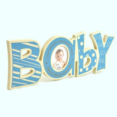 Personalized, Word Photo Frame, Baby, Blue   -