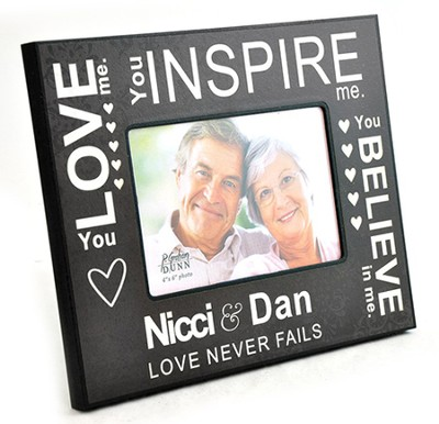 Personalized, Photo Frame, Love Never Fails, Black   -