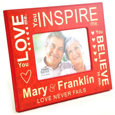 Personalized, Photo Frame, Love Never Fails, Red   -