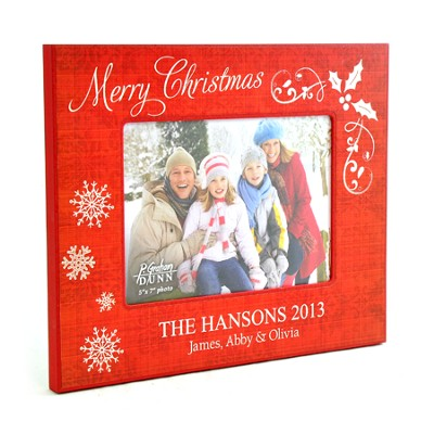 Personalized, Christmas Photo Frame, Large, Red   -