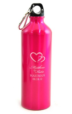 Personalized, Two Hearts Water Bottle, Pink   -