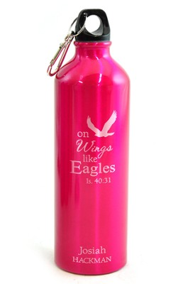 Personalized, Eagle Water Bottle, Pink   -