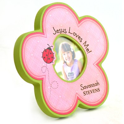 Personalized, Photo Frame, Flower, Jesus Loves Me   -