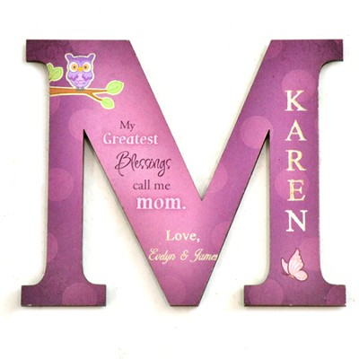 Personalized, Magnet, Letter M, My Greatest Blessings  Call Me Mom, Purple  -