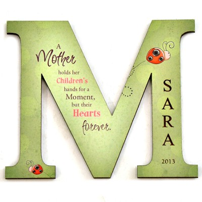 Personalized, Magnet, Letter M, A Mother Hold Her Children's Hand, Green  -
