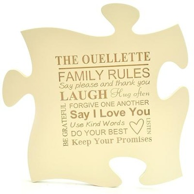 Personalized, Puzzle Piece, Ivory   -