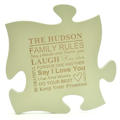 Personalized, Puzzle Piece, Green   -