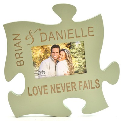 Personalized, Puzzle Photo Frame, Green   -