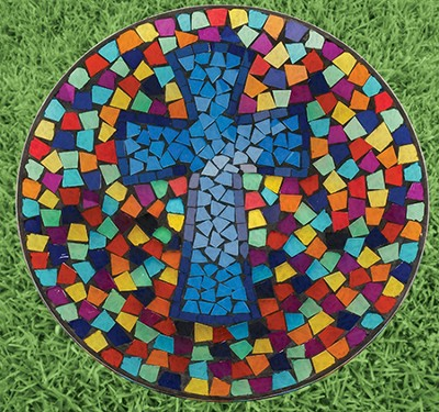 Mosaic Cross Art Glass Bird Bath   -