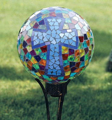Cross, Moasic Gazing Ball   -