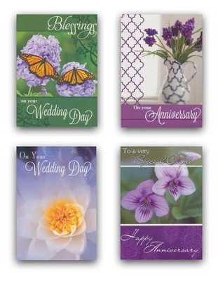 Wedding and Anniversary Floral Cards, Box of 12  -