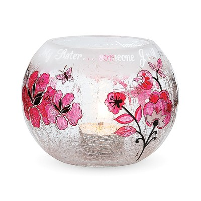 My Sister Cracked Glass Candle Holder   -