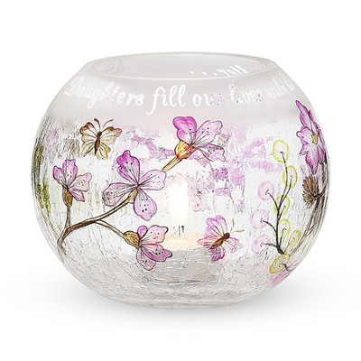 Daughters Fill Our Lives Crackled Glass Candle Holder  -