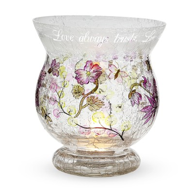 Love Always Protects Crackled Glass Candle Holder  -