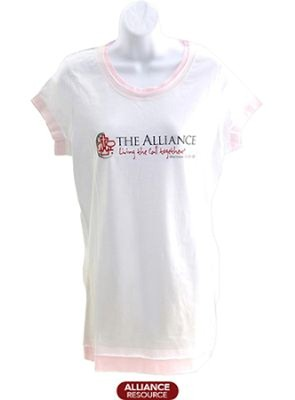 The Alliance Ladies Junior Fit White/Pink Layered Tee- Medium  -