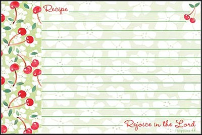 Rejoice in the Lord, Recipe Cards, Pack of 36   -