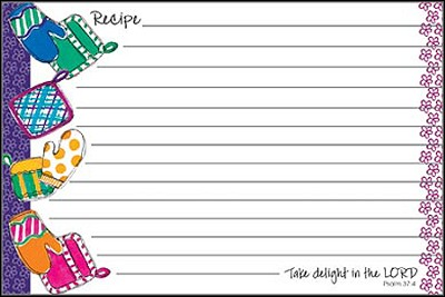 Take Delight in the Lord, Recipe Cards, Pack of 36  -