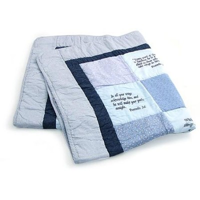 Embroidered Scriptures Baby Quilt, Blue    -