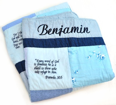 Personalized, Embroidered Scripture Baby Quilt, Blue   -