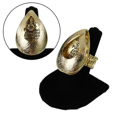 Gold Open Tear Angels Guard Stretch Ring  -