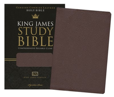 The King James Study Bible, Genuine leather, brown  -
