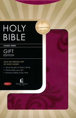 NKJV Gift Bible--soft leather-look, berry  -