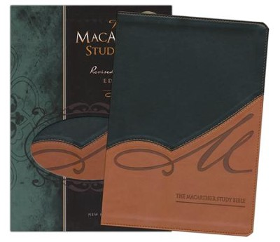 NKJV MacArthur Study Bible, Leathersoft, black/terracotta indexed - Imperfectly Imprinted Bibles  -
