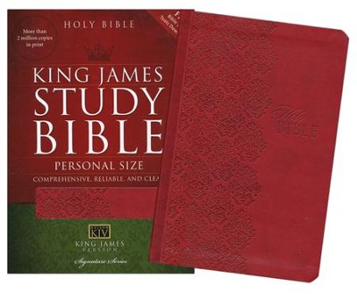 KJV Personal-Size Study Bible--soft leather-look, ruby  -