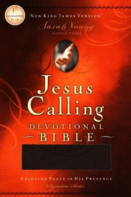 NKJV Jesus Calling Devotional Bible, Soft leather-look, chocolate  -     By: Sarah Young
