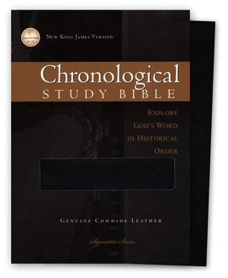 NKJV Chronological Study Bible, Genuine leather, black , Case of 12  -